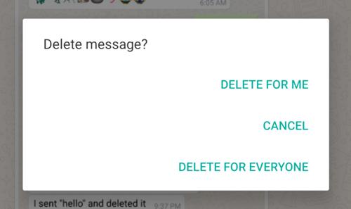Delete for Everyone WhatsApp